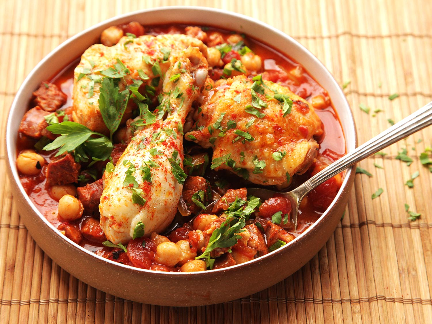Colombian chicken stew with tomatoes potatoes and onion