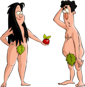 adam and eve eating the forbidden apple