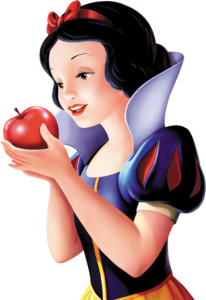 snow white is about to eat the poisoned apple